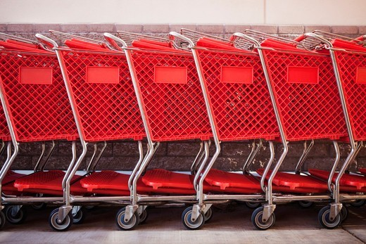 Red shopping carts : Stock Photo