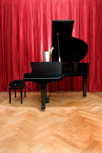 Grand Piano on stage : Stock Photo