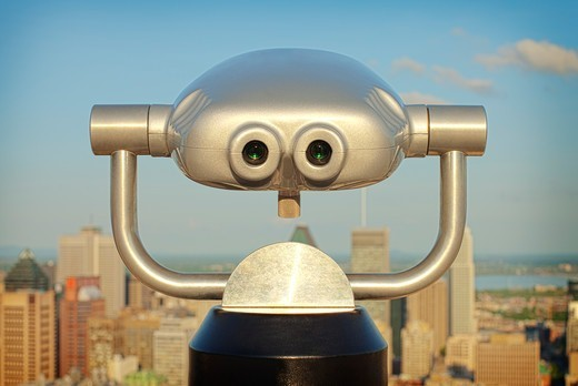 Binoculars overlooking Montreal, Canada : Stock Photo