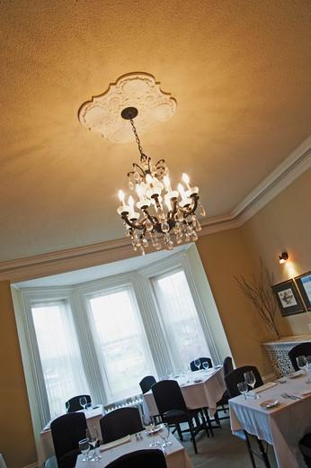Dining room of restaurant in inn : Stock Photo