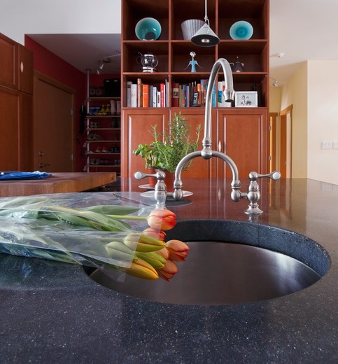 Close up of sink in modern kitchen : Stock Photo