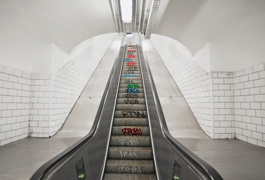 Escalator in Paris, France : Stock Photo