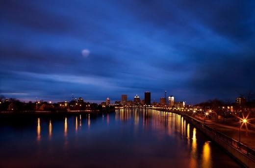 Rochester, New York, USA. Cityscape Under Moonlight : Stock Photo