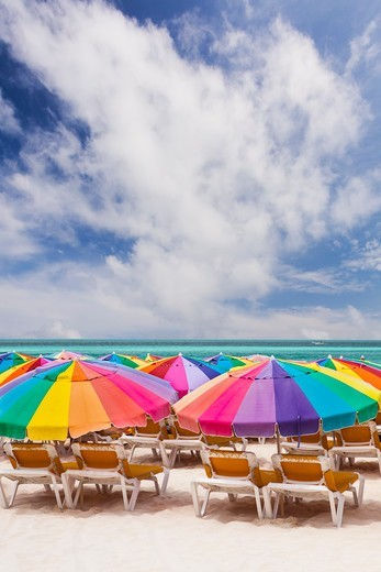 Colorful umbrellas on beach : Stock Photo