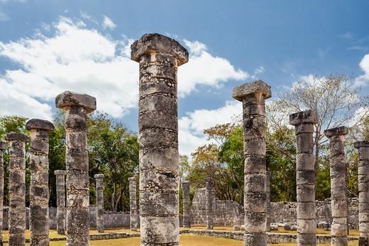 Stone columns at Chichen Itza, Quintana Roo, Mexico : Stock Photo