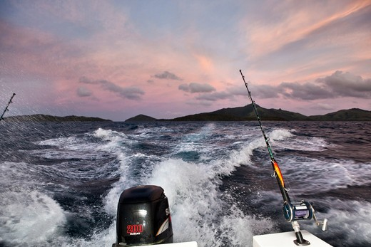Wake From Fishing Boat At Sunrise : Stock Photo