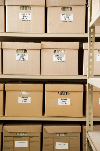 Boxes of Invoices : Stock Photo