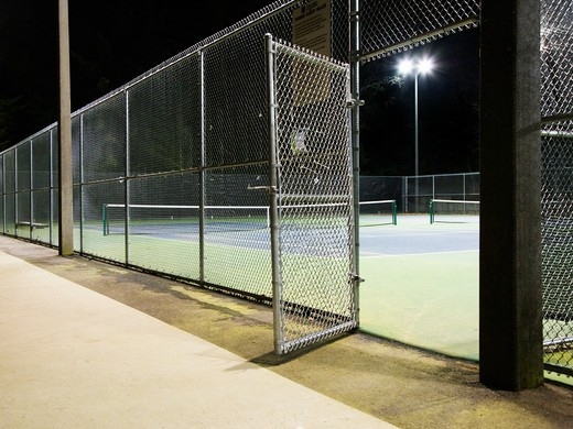 Tennis Court Entrance at Night : Stock Photo