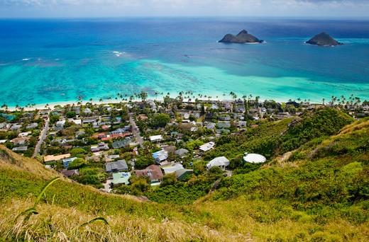 Town of Kailua with Mokulua Islands : Stock Photo
