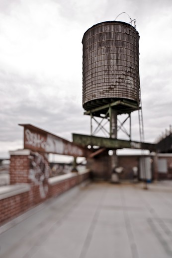 Rooftop Water Tower : Stock Photo