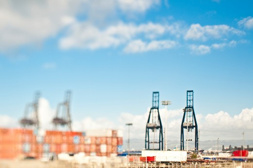 Cargo Containers and Loading Cranes : Stock Photo