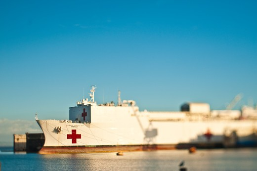 Medical Ship at Port : Stock Photo