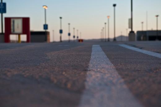 White Stripe on a Road : Stock Photo