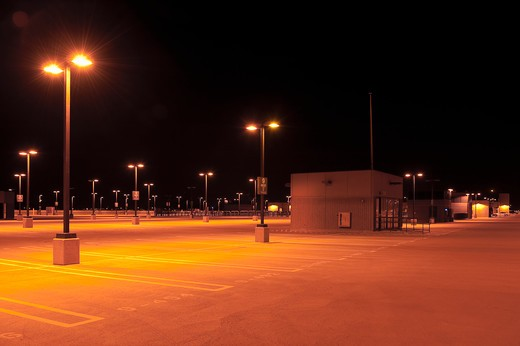 Rooftop Car Park at Night : Stock Photo