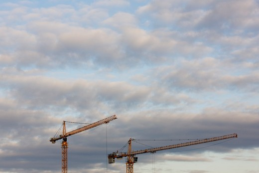 Tower Cranes and Clouds : Stock Photo