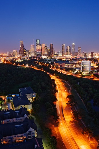 City Lights of Downtown Houston at Dusk : Stock Photo