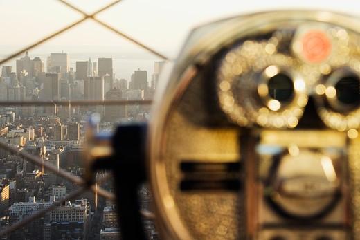 Downtown Manhattan Behind Coin Operated Binoculars : Stock Photo