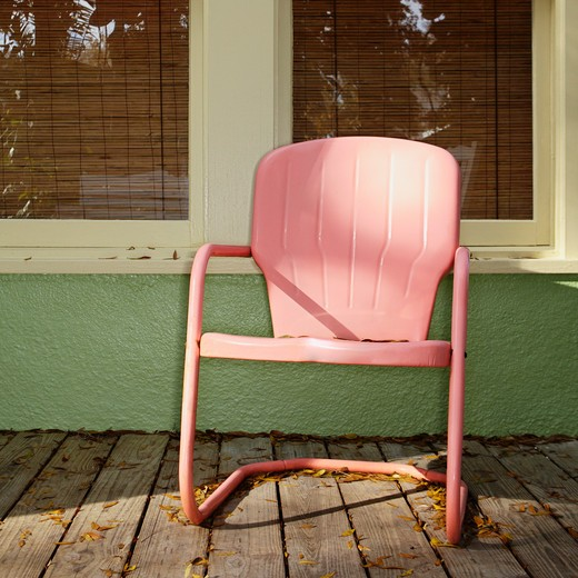 Pink Metal Chair on a Porch : Stock Photo