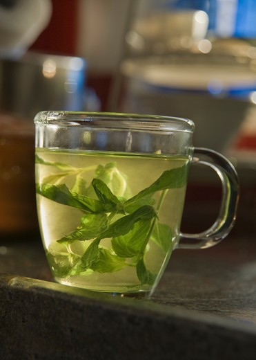 Mint Tea In A Clear Glass Cup : Stock Photo