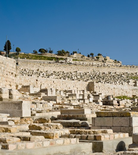 Jewish Graveyard on the Mount of Olives : Stock Photo