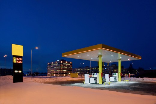 Gas Station At Night : Stock Photo