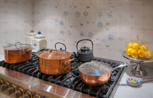Gas Stove And Copper Pots : Stock Photo