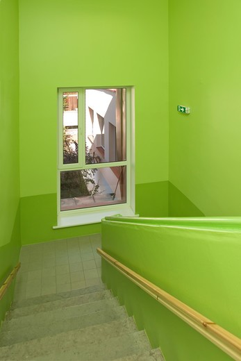 Estonia , Green School Stairwell : Stock Photo