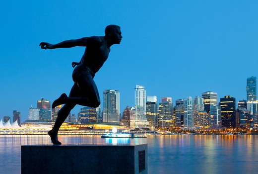 Vancouver, British Columbia, Canada , Running Sculpture With a Downtown Background : Stock Photo