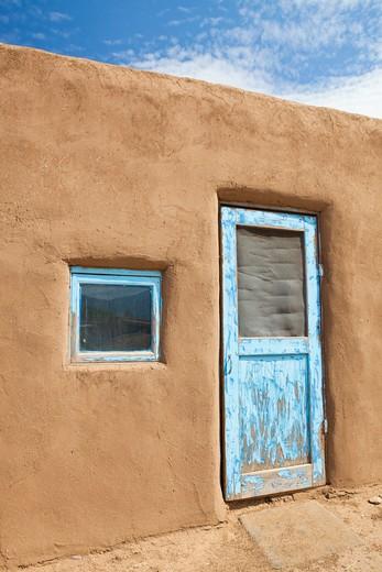 Taos, New Mexico, USA , Door to An Adobe Building : Stock Photo