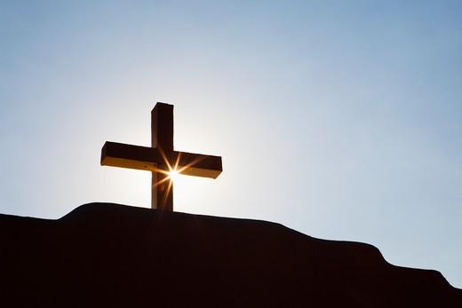 Taos, New Mexico, USA , Cross and Sunburst : Stock Photo