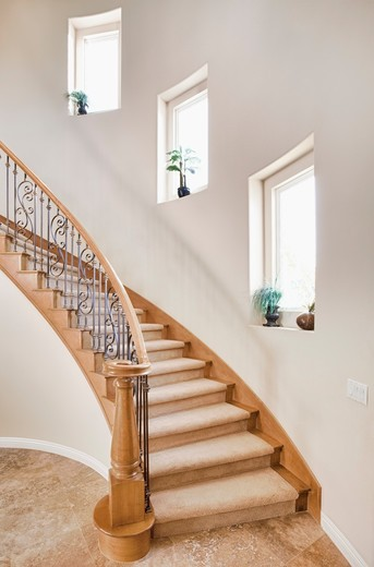 Curved staircase in home : Stock Photo