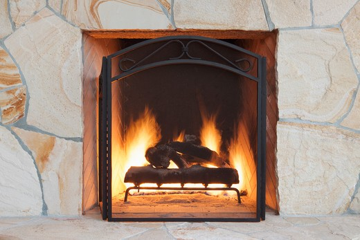 Fireplace and hearth in outdoor living space : Stock Photo