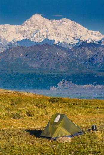 Denali, Mount McKinley viewed from Kesugi Ridge : Stock Photo