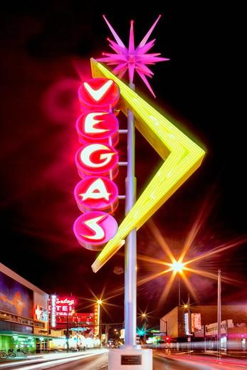 Neon Vegas sign at night on Freemont Street : Stock Photo
