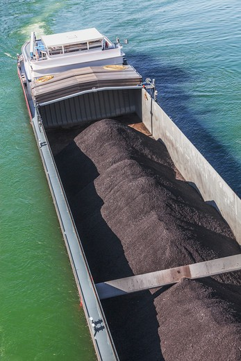 Basel Asphalt Cargo Boat in Switzerland : Stock Photo