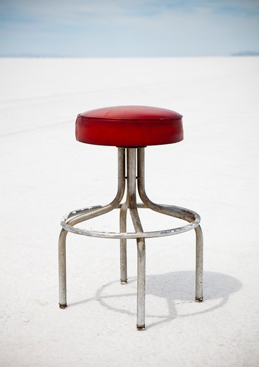 Bar stool on Bonneville salt flats : Stock Photo