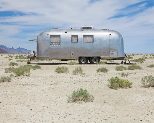 Vintage Airstream trailer on Bonneville Salt Flats : Stock Photo