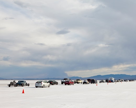 Speed Week auto racing event on Bonneville Salt Flats : Stock Photo