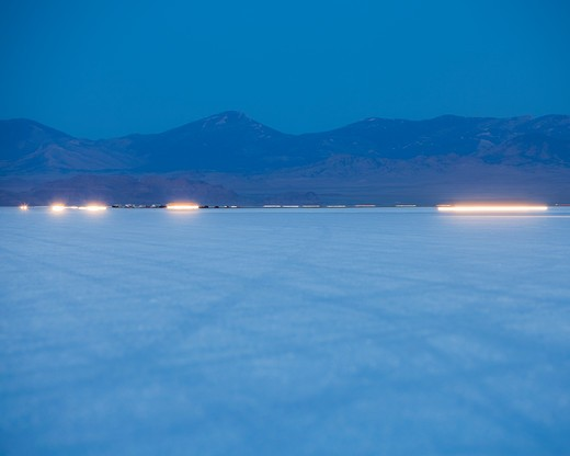 Bonneville Salt Flats Speed Week auto racing event : Stock Photo