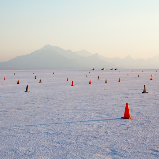 Bonneville Salt Flats racing track marked with cones : Stock Photo