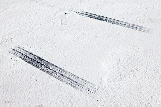 Bonneville Salt Flats, tire tracks : Stock Photo