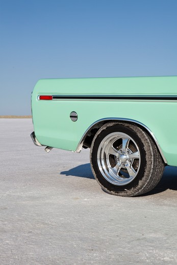 Vintage Ford pickup at Bonneville Salt Flats, Utah, USA : Stock Photo