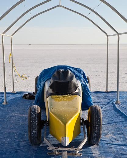 Bonneville Salt Flats Speed week event competitor : Stock Photo
