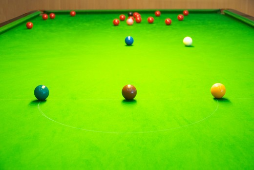 Green baize snooker table : Stock Photo