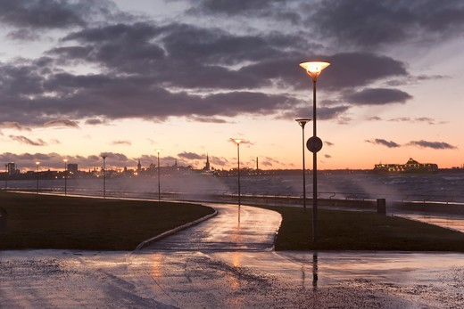 Tallinn coastline and stormy seas : Stock Photo