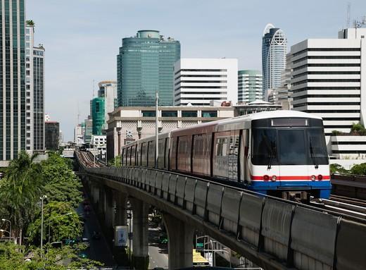 Bangkok, Thailand, Above Ground train : Stock Photo