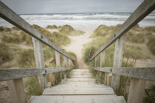 Steps down onto the beach, Findhorn, Scotland. : Stock Photo
