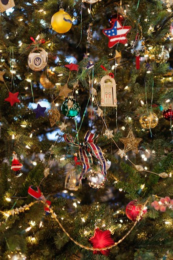 Patuxent River. An American home. A formal living room with Christmas tree and gifts. Close up of a pine tree branch crowded with ornaments. : Stock Photo
