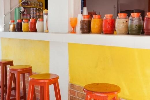 Colorful, fruity drink stand, Market 28 (Mercado 28), Cancun, Yucatan Peninsula, Quintana Roo, Mexico : Stock Photo