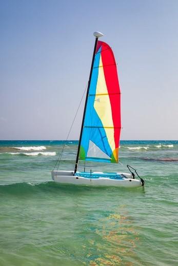 Catamaran at Playa del Carmen, Yucatan Peninsula, Quintana Roo, Mexico : Stock Photo